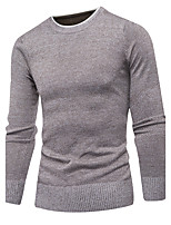 Men's Going out Casual/Daily Simple Short Pullover,Solid Polka Dot Crew Neck Long Sleeves Cotton Fall Winter Medium Stretchy