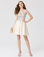 A-Line Princess Scoop Neck Short / Mini Lace Satin Cocktail Party Dress with Appliques by TS Couture®