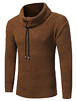 Men's Casual/Daily Simple Long Pullover,Color Block Turtleneck Long Sleeves Cotton Spring Winter Medium Micro-elastic