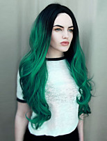 High Quality Middle Long Wave Ombre Black To Dark Green Color Wig Fashion Sexy Women Wig Natural Hair Synthetic Wigs