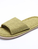 Women's Slippers & Flip-Flops Comfort Winter Cotton Linen Casual Flat Heel Light Green Red Fuchsia Orange Flat