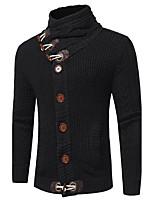 Для мужчин На выход На каждый день Простое Уличный стиль Изысканный Обычный Пуловер Однотонный,Хомут Длинный рукав Шерсть Полиэстер Осень