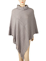 Women Wool Acrylic Rectangle Solid Spring Fall