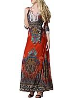 Для женщин На каждый день Офис Большие размеры Простое Прямое Оболочка Платье Однотонный,Круглый вырез Макси Длинный рукав Полиэстер Все
