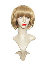 Mujer Pelucas sintéticas Sin Tapa Corto Ondulado Marrón Corte Bob Peluca de fiesta Las pelucas del traje