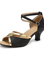 Для женщин Латина Искусственная кожа На каблуках Тренировочные Кубинский каблук Золотой Черный