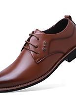 Для мужчин обувь Искусственное волокно Весна Осень Формальная обувь Туфли на шнуровке Шнуровка Назначение Повседневные Черный Темно-русый