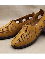Для мужчин Мокасины и Свитер Удобная обувь Весна Лето Тюль Повседневные Серый Желтый Кофейный На плоской подошве