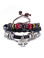 Men's Kid's Leather Bracelet Onyx Vintage Alloy Geometric Jewelry For Daily
