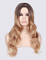 Women Synthetic Wig Capless Long Wavy Black/Strawberry Blonde Ombre Hair Dark Roots Natural Wigs Costume Wigss
