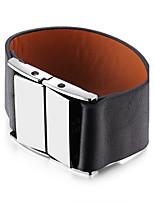 Муж. Жен. Браслет разомкнутое кольцо Кожаные браслеты Бижутерия Мода Массивные украшения Серебрянное покрытие Сплав Геометрической формы