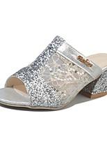 Women's Slippers & Flip-Flops Comfort Summer PU Casual Dress Sequin Block Heel Silver Gold 2in-2 3/4in