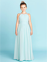 A-Line Princess Jewel Neck Floor Length Chiffon Junior Bridesmaid Dress with Ruche Side-Draped by LAN TING BRIDE®