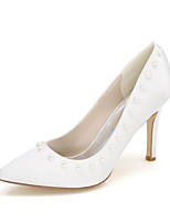 Women's Wedding Shoes Basic Pump Satin Spring Summer Wedding Party & Evening Imitation Pearl Stiletto Heel Ivory Blue Ruby Purple Silver
