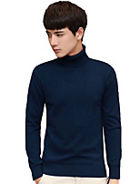 Men's Plus Size Going out Casual/Daily Vintage Simple Street chic Regular PulloverSolid Striped Print Turtleneck Long Sleeves Cotton