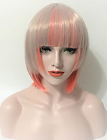 Women Synthetic Wig Capless Short Straight Pink Natural Hairline Bob Haircut With Bangs Lolita Wig Halloween Wig Costume Wig