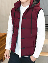 Men's Short Padded Coat,Simple Casual/Daily Solid-Cotton Polypropylene Sleeveless