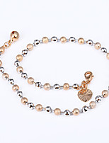 Women's Anklet/Bracelet Rose Gold Plated Fashion Simple Style Circle Round Jewelry For Beach Club