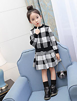 Girls' Plaid Sets,Cotton Polyester Spring Fall Long Sleeve Clothing Set