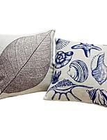 2 pcs Cotton/Linen Pillow case Bed Pillow Body Pillow Travel Pillow Sofa Cushion Pillow Cover,Lines / Waves Leaf Artwork