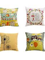 4 pcs Cotton/Linen Bed Pillow Body Pillow Travel Pillow Sofa Cushion Pillow CoverArt Deco Mixed Color Graphic Prints Artistic Pattern