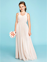 A-Line Princess Strap Floor Length Chiffon Lace Junior Bridesmaid Dress with Ruche Side-Draped by LAN TING BRIDE®