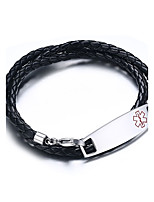 Men's Women's Leather Bracelet Hip-Hop Rock Leather Titanium Steel Flower Jewelry For Party Birthday Gift Evening Party