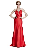 A-Line V-neck Sweep / Brush Train Satin Bridal Shower Formal Evening Dress with Crystal Detailing Flower(s) by W.JOLI