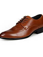 Men's Shoes Leatherette Fall Winter Comfort Oxfords Split Joint For Casual Black Brown
