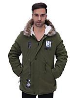 Пальто Простое Обычная На подкладке Для мужчин,С принтом Большие размеры Хлопок Полиэстер Хлопок,Длинный рукав