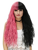 Women Synthetic Wig Capless Long Water Wave Black/Watermelon Red Halloween Wig Costume Wigs