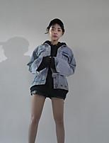 Veste en jean Femme,Lettre Décontracté / Quotidien Chic de Rue Printemps Automne Manches longues Col de Chemise Normal Coton