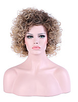 Women Medium Black/Honey Blonde Kinky Curly Ombre Hair Natural Hairline Layered Haircut Synthetic Hair Capless Party Wig Halloween Wig