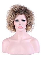 Donna Senza tappo Medio Kinky Curly Nero / Miele Biondo Attaccatura dei capelli naturale Capelli schiariti Taglio scalato Parrucca