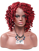 Women Synthetic Wig Capless Short Afro Jheri Curl Dark Wine African American Wig For Black Women Lolita Wig Party Wig Halloween Wig