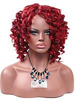 Mujer Pelucas sintéticas Sin Tapa Corto Afro Rizos Jheri Vino oscuro Peluca afroamericana Para mujeres de color Peluca de cosplay Peluca