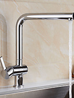 Contemporary Standard Spout Vessel Rotatable with  Ceramic Valve Chrome , Kitchen faucet