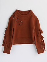 Girls' Solid Blouse,Cotton Spring Fall Long Sleeve