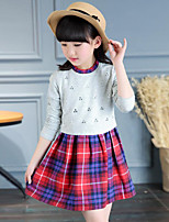 Girl's Casual/Daily Solid Plaid Dress,Cotton Spring Fall Long Sleeve