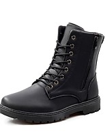 Men's Boots Comfort Combat Boots Fall Winter Leather Casual Zipper Lace-up Flat Heel Brown Black Flat