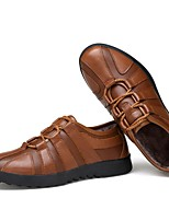 Men's Shoes Real Leather Cowhide Nappa Leather Winter Fluff Lining Driving Shoes Formal Shoes Comfort Oxfords Lace-up For Casual Office &