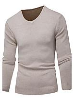 Для мужчин На выход На каждый день Простое Очаровательный Короткий Пуловер Однотонный,V-образный вырез Длинный рукав Хлопок Осень Зима