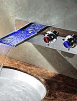 Современный Чаша Водопад Меняет цвета with  Керамический клапан Две ручки одно отверстие for  Хром , Ванная раковина кран