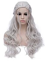 Mujer Pelucas sintéticas Sin Tapa Largo Produndo Plata Peluca de Halloween Las pelucas del traje