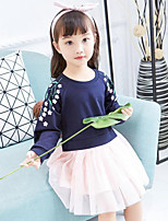 Girl's Casual/Daily Floral Patchwork Dress,Rayon Polyester Spring Fall Long Sleeve