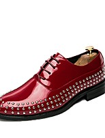 Для мужчин обувь Полиуретан Весна Осень Удобная обувь Туфли на шнуровке Заклепки Шнуровка Назначение Повседневные Черный Красный Синий
