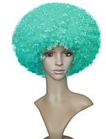 жен. Парики из искусственных волос Без шапочки-основы Короткий Кудри Джерри Керл Зеленый Парики для косплей Парик из натуральных волос
