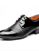 Men's Latin Real Leather Oxford Indoor Splicing Chunky Heel Black 2