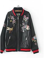 Для женщин На выход На каждый день Осень Зима Кожаные куртки Воротник-стойка,Простой Уличный стиль С принтом Контрастных цветов Обычная