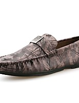 Для мужчин Мокасины и Свитер Мокасины Удобная обувь Весна Осень Полиуретан Повседневные Рюши На плоской подошве Черный Кофейный